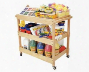 Hardwood Art Utility Cart With Dual Handles