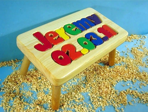 Personalized Name And Birthday Stool 1-8 Letters - Natural