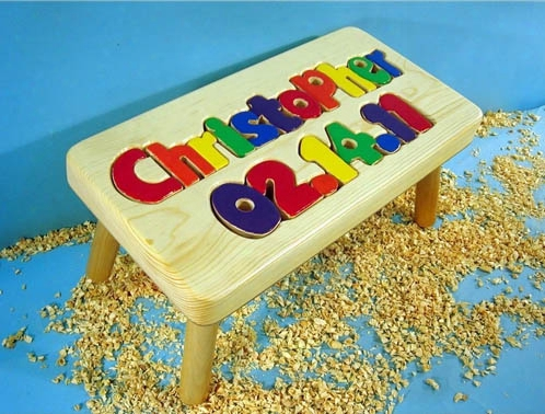Personalized Name And Birthday Stool 9-12 Letters - Natural