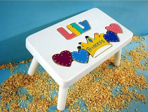 Personalized Name Princess Stool With 1-8 Letters - White