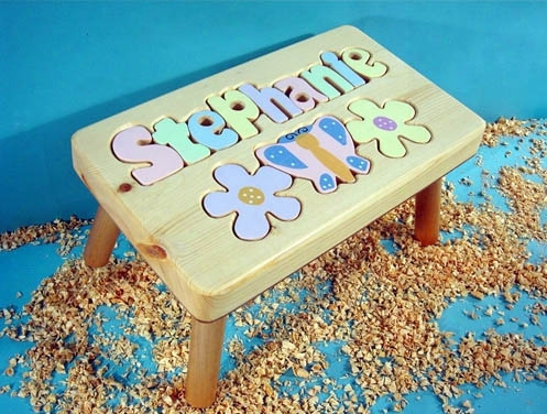 Personalized Name Puzzle Stool Flowers 9-12 Letters -natural