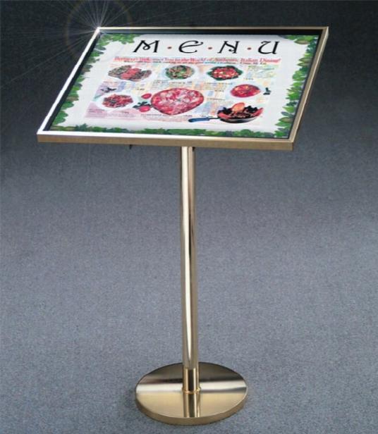 Premium Floor Standing Menu Display - Satin Aluminum