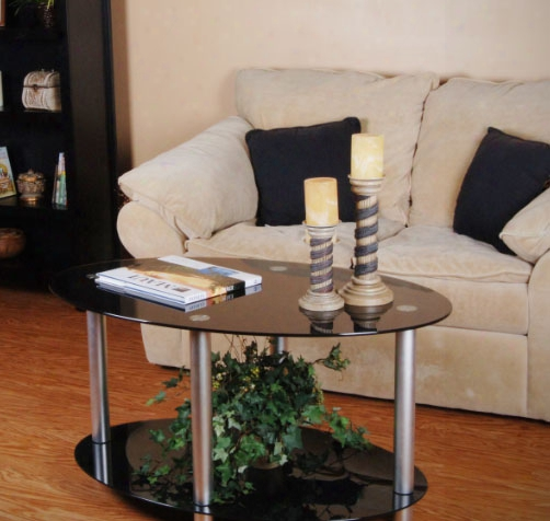 Tier One Designs Black Glass And Aluminum Coffee Table