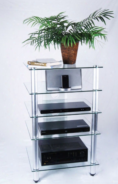 Tier One Designs Clear Glass And Aluminum Audio Rack