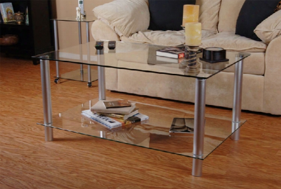Tier One Designs Clear Glass And Aluminum Coffee Table