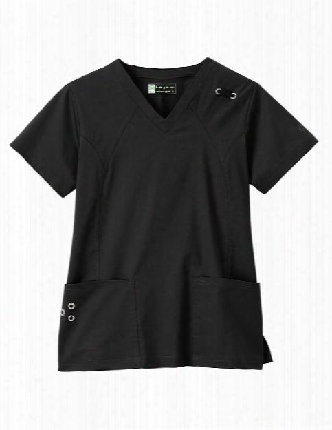 Bio Grommet Ladies V-neck Scrub Top - Black - Female - Women's Scrubs