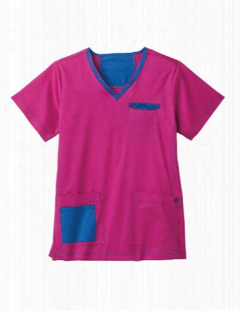 Bio Stretch Contrast V-neck Scrub Tops - Azalea - Female - Women's Scrubs