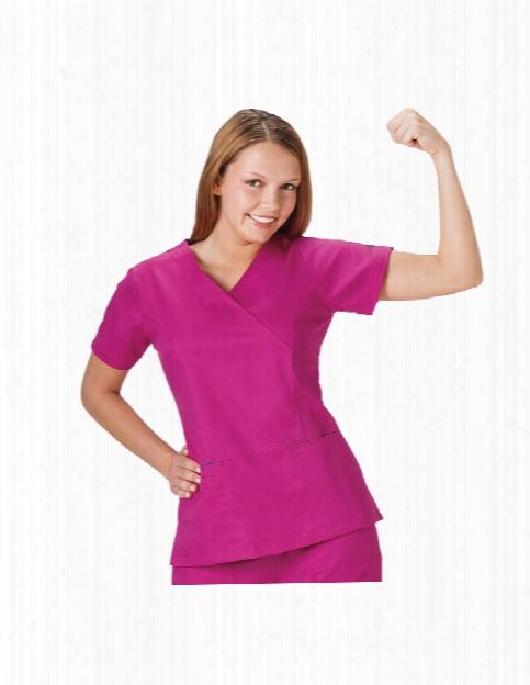 Bio Stretch Mock Wrap Scrub Top - Azalea - Female - Women's Scrubs