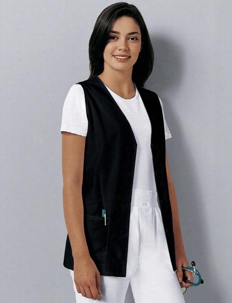 Cherokee Button Down Vest - Black - Female - Women's Scrubs