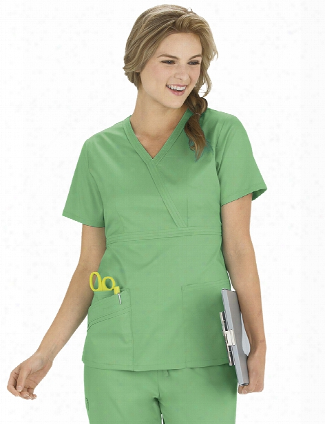 Cherokee Luxe Clearance Mock Wrap Top - Spectra Green - Female - Women's Scrubs