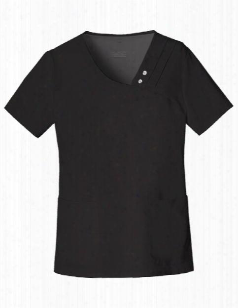 Cherokee Luxe Crossover Pintuck Top - Black - Female - Women's Scrubs
