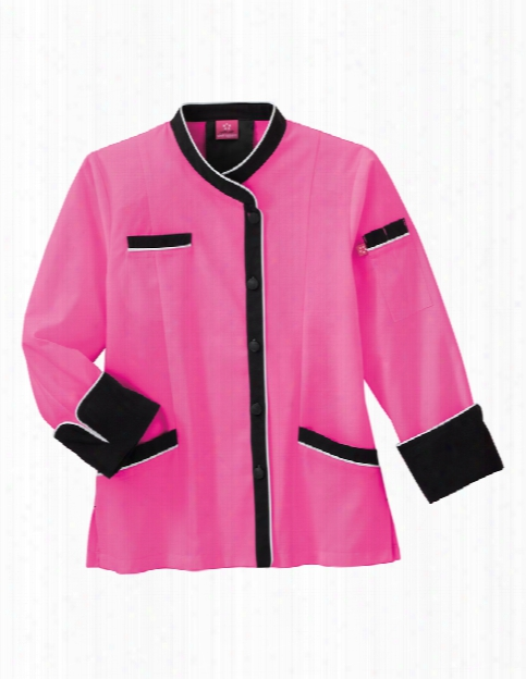 Five Star Chef Apparel Ladies Long Sleeve Executive Coat With Mesh Back Vent - Posh Pink - Unisex - Chefwear