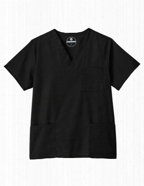 Fundamentals Unisex Three Pocket Scrub Top - Black - Unisex - Unisex