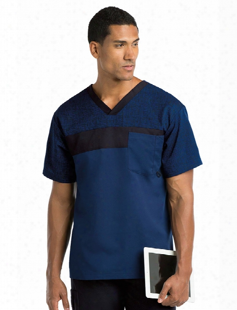Grey's Anatomy Active Men's Printed Panel Scrub Top - Indigo-hatch-black - Male - Men's Scrubs