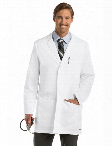Grey's Anatomy Men's 35 Inch Side Vent Lab Coat - White - Male - Men's Scrubs