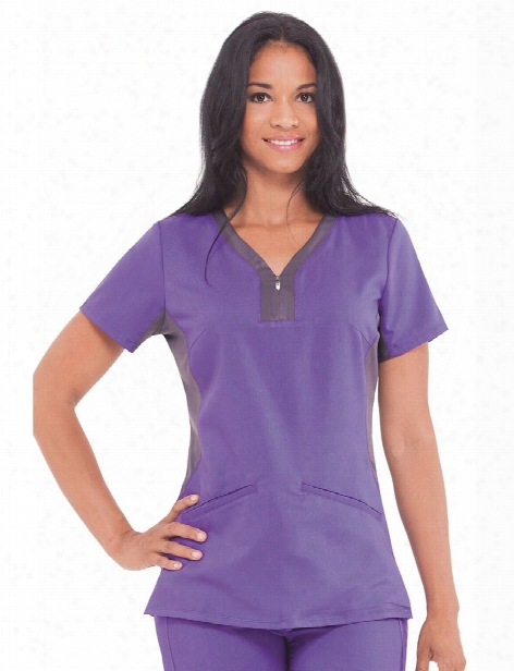 Healing Hands Purple Label Jessi Yoga Top - Grape-pewter - Female - Women's Scrubs