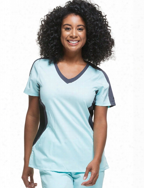 Healing Hands Purple Label Jewel Top - Aqua Mist-pewter-blk - Female - Women's Scrubs