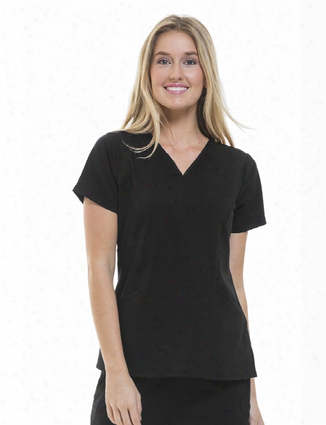 Healing Hands Purple Label Joni Scrub Top - Black - Female - Women's Scrubs