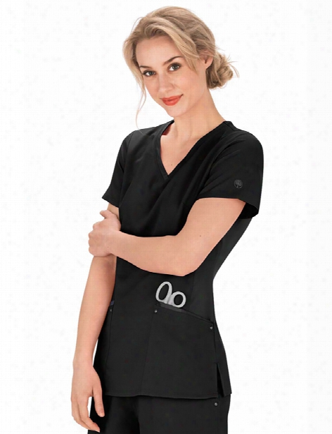 Healing Hands Purple Label Juliet Scrub Top - Black - Female - Women's Scrubs