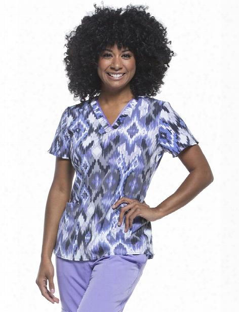 Healing Hands Summer Ikat Scrub Top - Print - Female - Women's Scrubs
