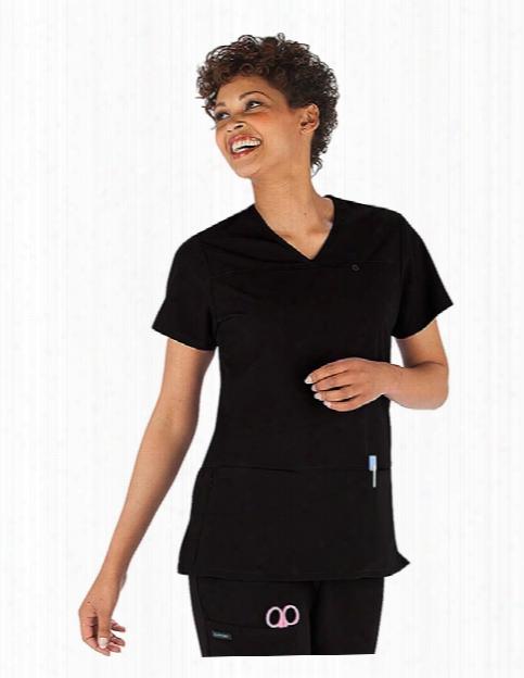 Jockey Classic V-neck Zip Side Pocket Scrub Top - Black - Female - Women's Scrubs