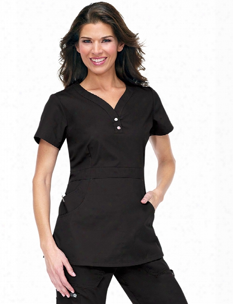 Koi Justine Scrub Top - Black -f Emale - Women's Scrubs