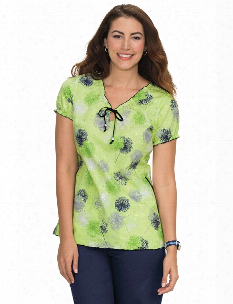 Koi Make A Wish Embroidered Bridgette Scrub Top - Print - Female - Women's Scrubs