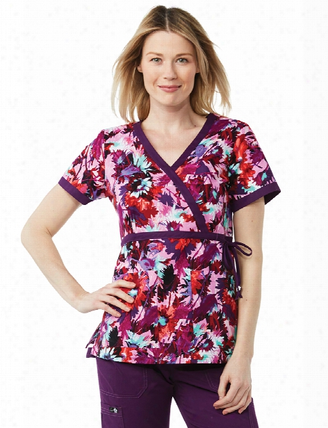 Koi Straw Flowers Kathryn Scrub Top - Print - Female - Women's Scrubs