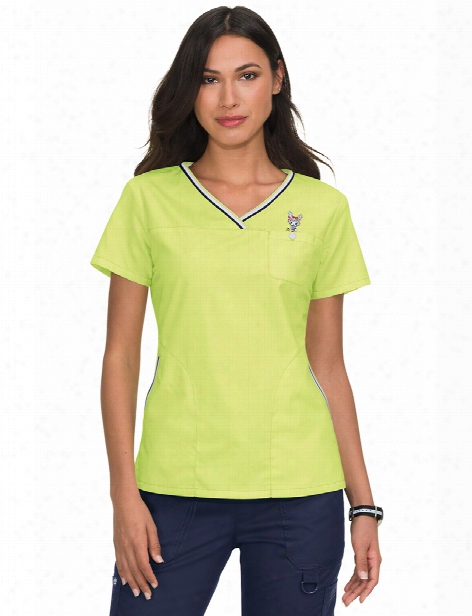 Koi Tokidoki Lemon Lime Ashley Scrub Top - Yellow - Female - Women's Scrubs