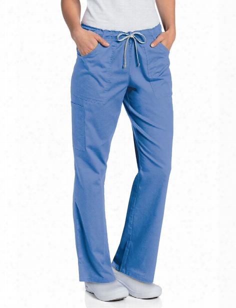 Landau All Day Full Elastic Cargo Scrub Pant - Ceil - Female - Women's Scrubs