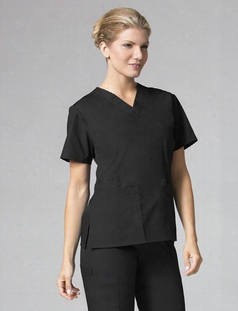 Maevn 2 Pocket V-neck Scrub Top - Black - Female - Women's Scrubs