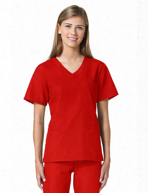 Maevn 3 Pocket Sporty V-neck Scrub Top - Red - Female - Women's Scrubs
