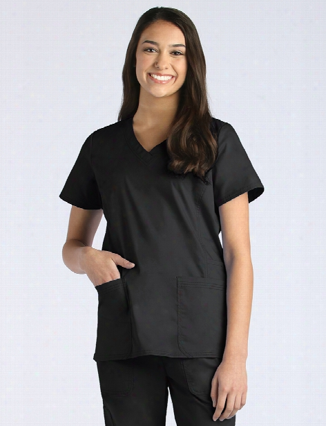 Maevn Blossom Signature Functional Scrub Top - Black - Female - Women's Scrubs