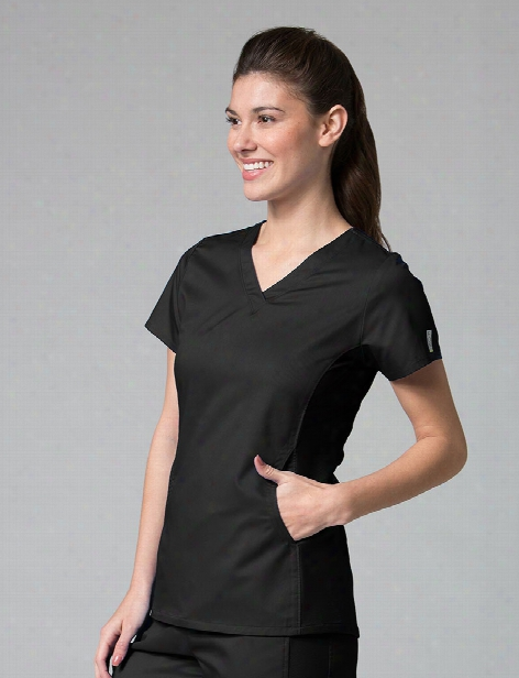 Maevn Eon Active Sporty Mesh Panel Scrub Top - Black - Female - Women's Scrubs