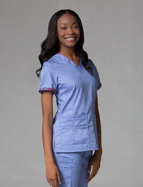 Maevn Primaflex Classic V-neck Scrub Tops - Ceil Blue - Female - Women's Scrubs