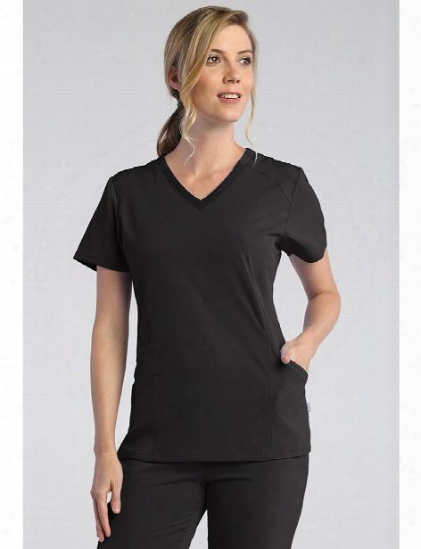 Maevn Pure Soft Modern V-neck Scrub Top - Black - Female - Women's Scrubs