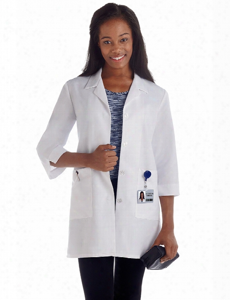 Meta Labwear Ladies 3/4 Sleeve Fundamentals Lab Coat - White - Female - Women's Scrubs