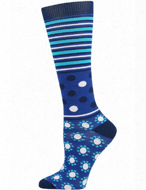 Think Medical Abstract Dot Stripe Blue Compression Socks - Abstract Dot Stripe - Female - Women's Scrubs