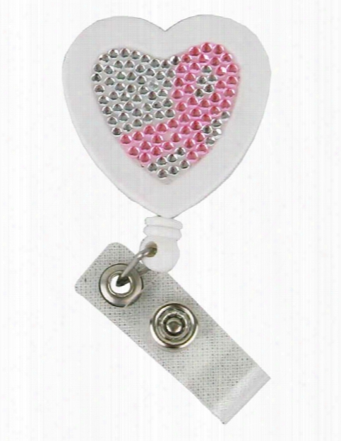 Think Medical Think Medical Breast Cancer Awareness Heart Badge Reel - Unisex - Medical Supplies