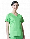 Maevn Blossom Y-Neck Seam Scrub Top - Apple Green - female - Women's Scrubs