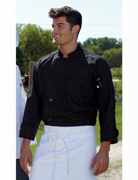 Uncommon Threads Classic Poplin Chef Coat - Black - Unisex - Chefwear