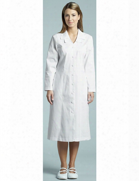 White Cross Button Front Princess Seam Dress - White - Female - Women's Scrubs