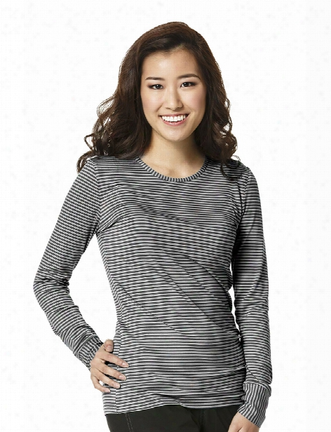 Wonderwink Long Sleeve Striped Tee Shirt - Black-pewter - Female - Women's Scrubs