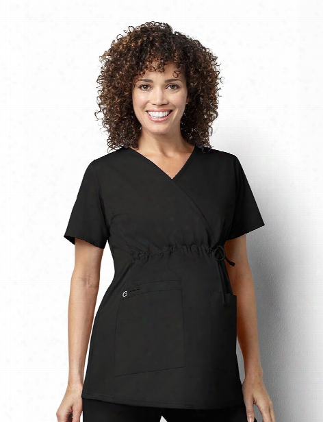 Wonderwink Wonderwork Maternity Scrub Top - Black - Female - Women's Scrubs