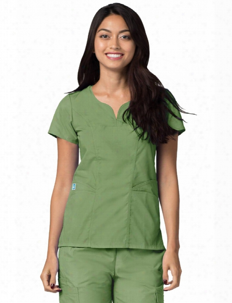 Adar Clearance Universal Curved Pocket Glamour Scrub Top - Asparagus - Unisex - Clearance