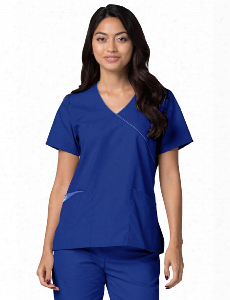 Adar Clearance Universal Mock Wrap Scrub Top - Royal Blue-ceil Blue - Unisex - Clearance
