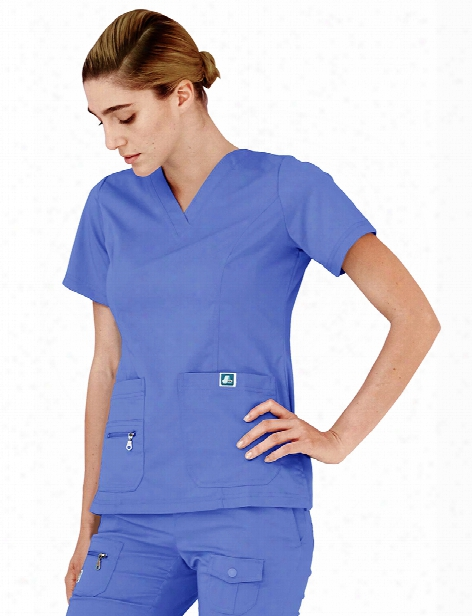 Adar Indulgence Jr. Fit Enhanced V-neck Scrub Top - Ceil Blue - Female - Women's Scrubs
