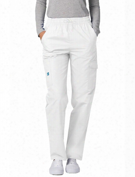 Adar Multi Pocket White Twill Cargo Scrub Pant - White - Female - Women's Scrubs