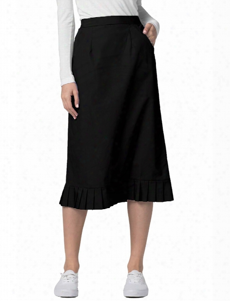 Adar Pleat Flounce Skirt - Black - Female - Women's Scrubs