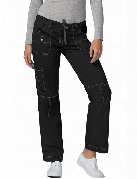 Adar Pop-stretch Junior Fit Low Rise Straight Leg Scrub Pant - Black - Female - Women's Scrubs
